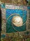 Stained Glass Abalone Shell Suncatcher Panel Tiffany Style 8x8OOAK