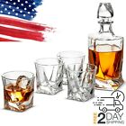 Whiskey Decanter  4 Tumbler Bourbon Shot Glass Set  Gift Box 2 Day Delivery
