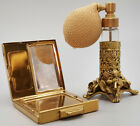 Vintage Brass  Glass Vanity Perfume Atomizer with Brass Compact