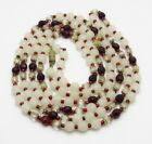 Vintage 50 Long White Satin Faceted Red  Clear Bead Necklace Filgree Endcaps