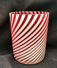 ANTIQUE VICTORIAN OPALESCENT ART GLASS CRANBERRY SWIRL TUMBLER EAPG  4 of 7
