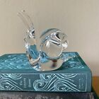 Crystal Art Glass Snail Signed ACC Beautiful Clear Paperweight Bug Slug Figurine