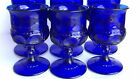 6 Kings crown thumbprint Glass Footed Cobalt blue 5 Goblets