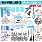 50 80 136 220PCS Cake Pastry Decorating Supplies Kit Turntable Stand Tools USA