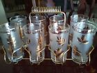 Vintage Libbey Gold Leaf Highball Glasses with Brass Colored Carrying Caddy