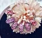 6 PANDORA Silver 925 ALE Murano Pink Purple Flower Bouquet Beads