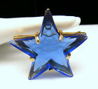 Gorgeous Vintage Blue Glass Star Brooch Pendant Gold Tone Frame