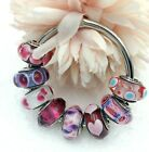 8 PANDORA Silver 925 ALE Murano Charm Red Pink Hearts Flowers Beads