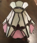 Stained Glass Lampshade White With Pink Flowers Vintage