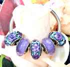 5 PANDORA Silver 925 ALE Murano Charm Faceted Purple Flowers Beads