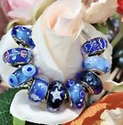 9 PANDORA Silver 925 ALE Murano Charm Blue Heart Star Fish in Ocean Beads