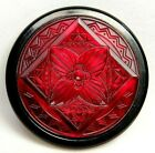 Antique Vtg BUTTON X Large RUBY Red Glass Gay 90s VICTORIAN Jewel in Metal