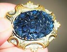 VINTAGE CZECH ART DECO DEEP CARVED BLUE GLASS BRASS COLOR PIN BROOCH MOURNING
