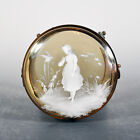 Antique Mary Gregory Amber Dresser Box Girl and Exotic Bird Excellent