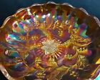 RARE  OUTRAGEOUS MILLERSBURG CARNIVAL GLASS ICS BOWLHOLLY SPRIG STAR VARIANT