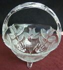 THREE FOOTED TULIP PATTERN GLASS BASKET 8 X 6 1 2 MINT CONDITION