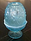 Vintage Fenton Blue Opalescent Art Glass Lily of the Valley Fairy Lamp 2 Piece