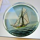 Glass Paperweight Reverse Painted Sail Boat Schooner Felt Backed Signed C N