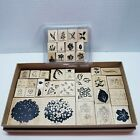 Lot of Stampin Up Wood Mounted Rubber Stamps Watercolor Minis Floral  Others