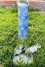 Premium 14 Blue Skull Water Pipe Glass Bong 9mm Thick Glass W Ice Catcher USA