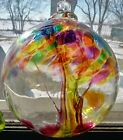 6 Handblown Glass Witch Ball SWIRLING AUTUMN SPIRIT TREE Scrying Orb Suncatcher