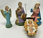VINTAGE Nativity Jesus Mary Joseph  Angel Hand Painted Italy Paper Mache