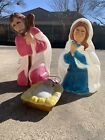 Vintage General Foam Lighted 3 Pc Blow Mold Nativity Set Mary Joseph And Jesus