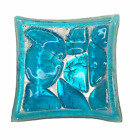 Modern Fused Art Glass Trinket Dish Turquoise Blue and Silver Square Mod