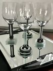 Handcrafted George Ponzini Signed Art Deco Style Wine Glasses And Tray Set
