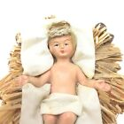 UNUSUAL Vintage Baby Jesus Christmas Nativity Manger Figure Statue Clothes Hair