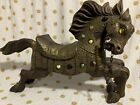 Antique Wood Carved GLASS EYE Carousel Horse Pony Stamped Metal Trim HAUNTING
