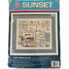 Vtg Sunset Stamped Cross Stitch Kit Dimensions 1991 Cozy Sewing Room B Waters