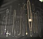 Lot Of Silver Tone  Gold Tone Jewelry Pieces Necklaces And Bracelet Cross Leaf