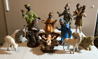 Set Of 11 Vintage Hard Plastic Nativity Scene Figurines Made In Italy