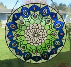 Bejeweled Handcrafted Round Victorian Blue Green White Stained Glass New