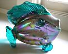 Iridescent Fused Aurene Studio Art Glass Fish Vase Signed Stunning Gorgeous