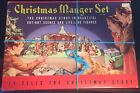 Vintage Christmas Manger Set original box Nativity Story Cardstock Litho Figures