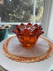 Viking Glass Persimmon Orange Flowerlite Flower Frog Candle Holder MCM COOL