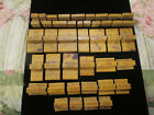 42 PRE WW11 WOOD AND RUBBER STAMP BLOCKS MOSTLY GREAT FIGURALS MADE IN JAPAN