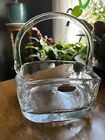 Vintage Large Blenko Handmade Square Basket Clear Glass With Sticker Art Glass