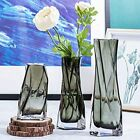 TOBERGO Exquisite and Small Hurricane Glass Flower Vase Set of 3 Clear Grey Vas
