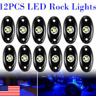 12x Blue LED Rock Lights Underbody Wheel Lamp Fit Chevy For Ford Off road Truck
