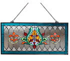 River of Goods Horizontal Window Panel Fleur De Lis Stained Glass 28 in Chain