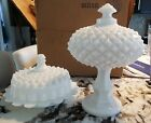 2 BEAUTIFUL Vintage Milk Glass Footed Hobnail Candy Dish wi Lid  Butter Dish