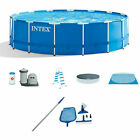 Intex 15ft x 48in Metal Frame Above Ground Swimming Pool and Maintenance Kit