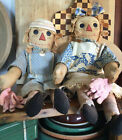 Primitive Handmade Grungy Raggedy Anne  Andy Dolls Farmhouse Country Americana