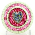 Gorgeous PERTHSHIRE Pink MILLEFIORI Canes HEART Art Glass PAPERWEIGHT