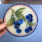 Vintage Unsigned Mystery Fused Art 725 Glass Plate Blueberry Fruits  Leaves