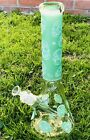 Premium 14 Green Skull Water Pipe Glass Bong 9mm Thick Glass W Ice Catcher USA