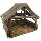 Vintage Handcrafted Wood Creche Manger Stable for Christmas Nativity 145 Wide